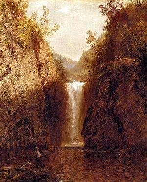 John Frederick Kensett - Landscape with Waterfall