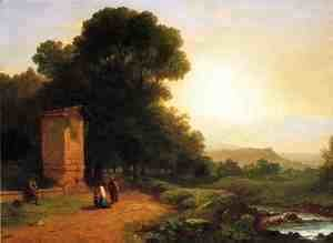 John Frederick Kensett - The Shrine - A Scene in Italy