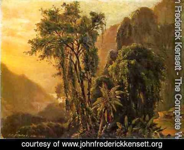 John Frederick Kensett - A Glimpse of the Caribbean sea from the Jamaica Mountains