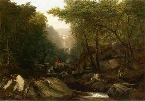 John Frederick Kensett - Waterfall in the Woods with Indians
