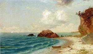 New England Coastal View with Figures