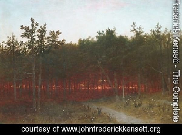 John Frederick Kensett - Twilight In The Cedars At Darien  Connecticut